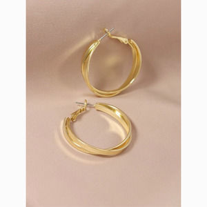3/$30 Gold Layered Twist Hoop Statement Earrings